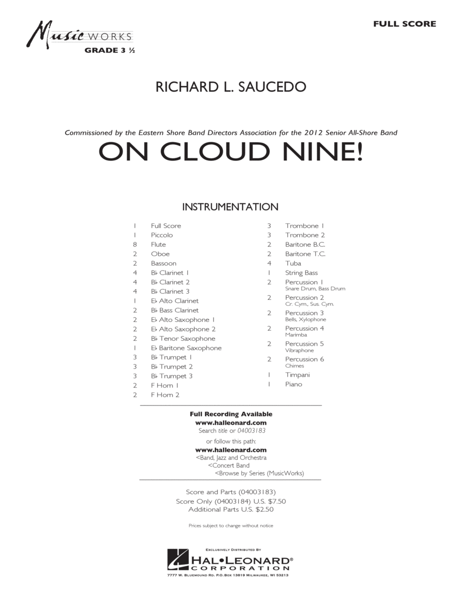 On Cloud Nine! - Full Score