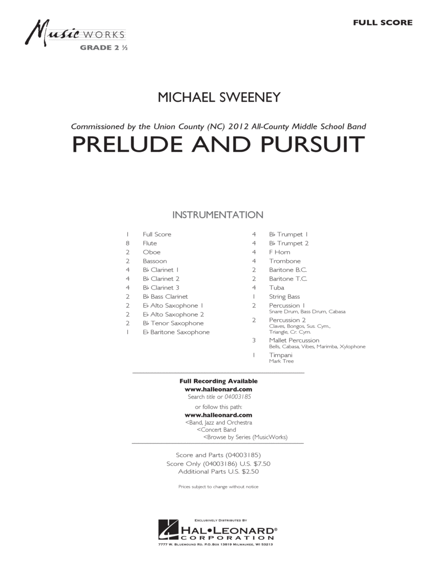 Prelude And Pursuit - Full Score