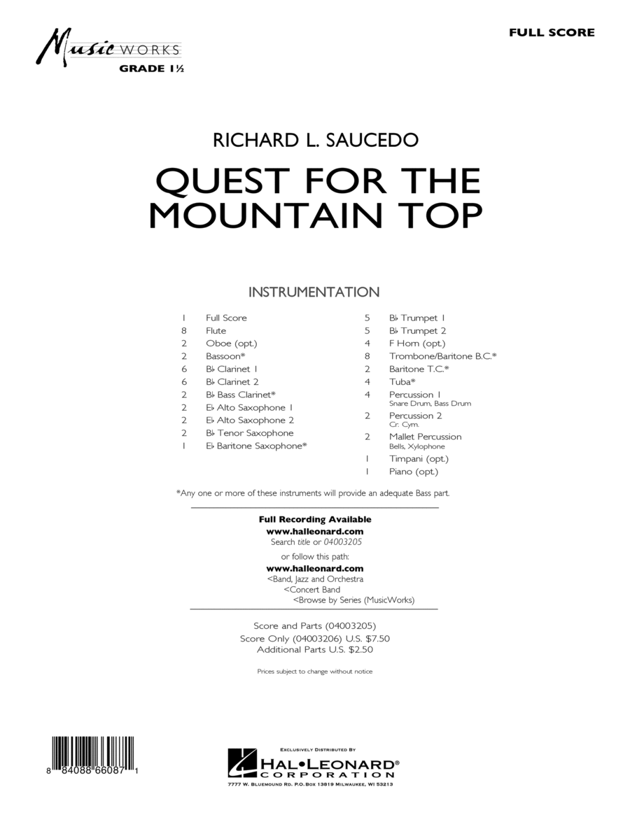Quest For The Mountain Top - Full Score