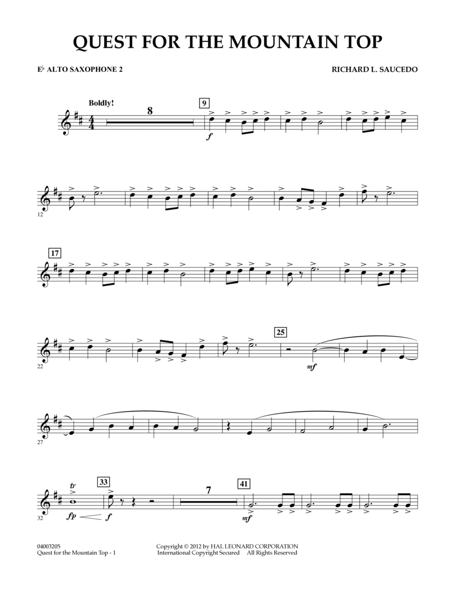 Quest For The Mountain Top - Eb Alto Saxophone 2