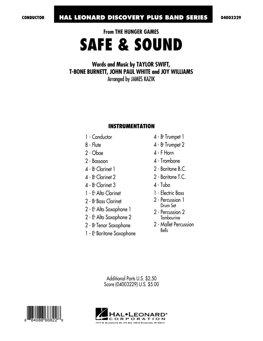 Safe & Sound (from The Hunger Games) - Full Score