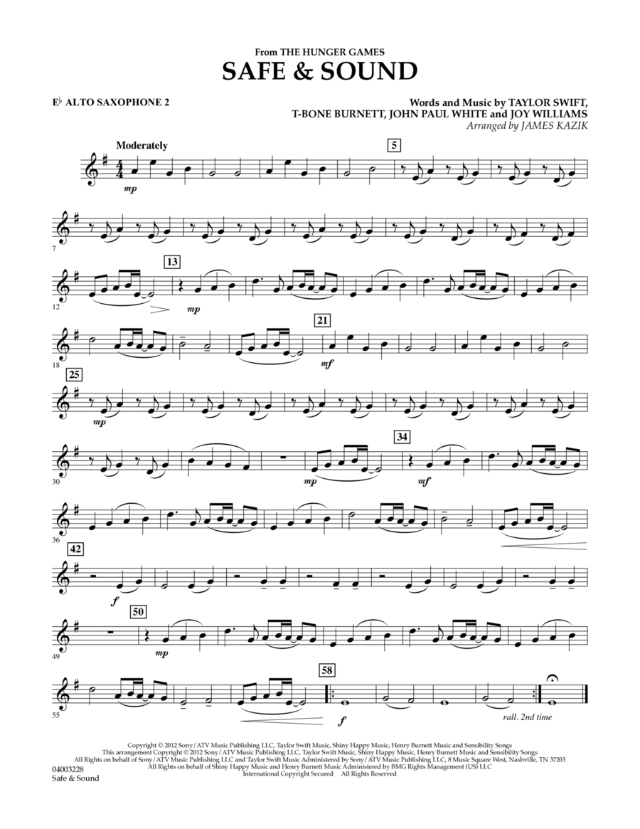 Safe & Sound (from The Hunger Games) - Eb Alto Saxophone 2