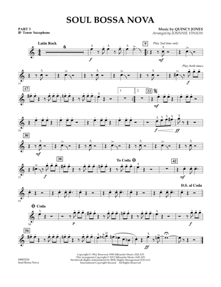 Soul Bossa Nova - Pt.3 - Bb Tenor Saxophone