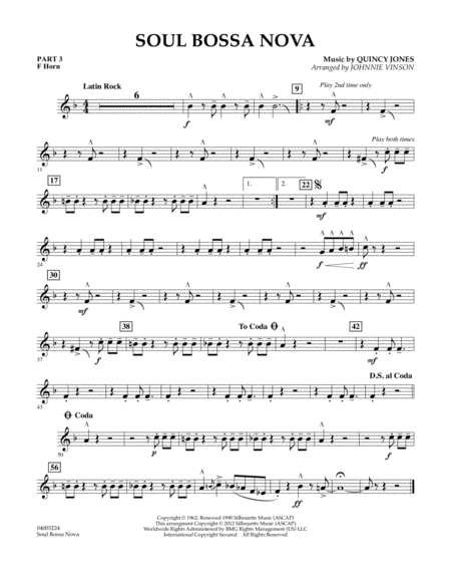 Soul Bossa Nova - Pt.3 - F Horn