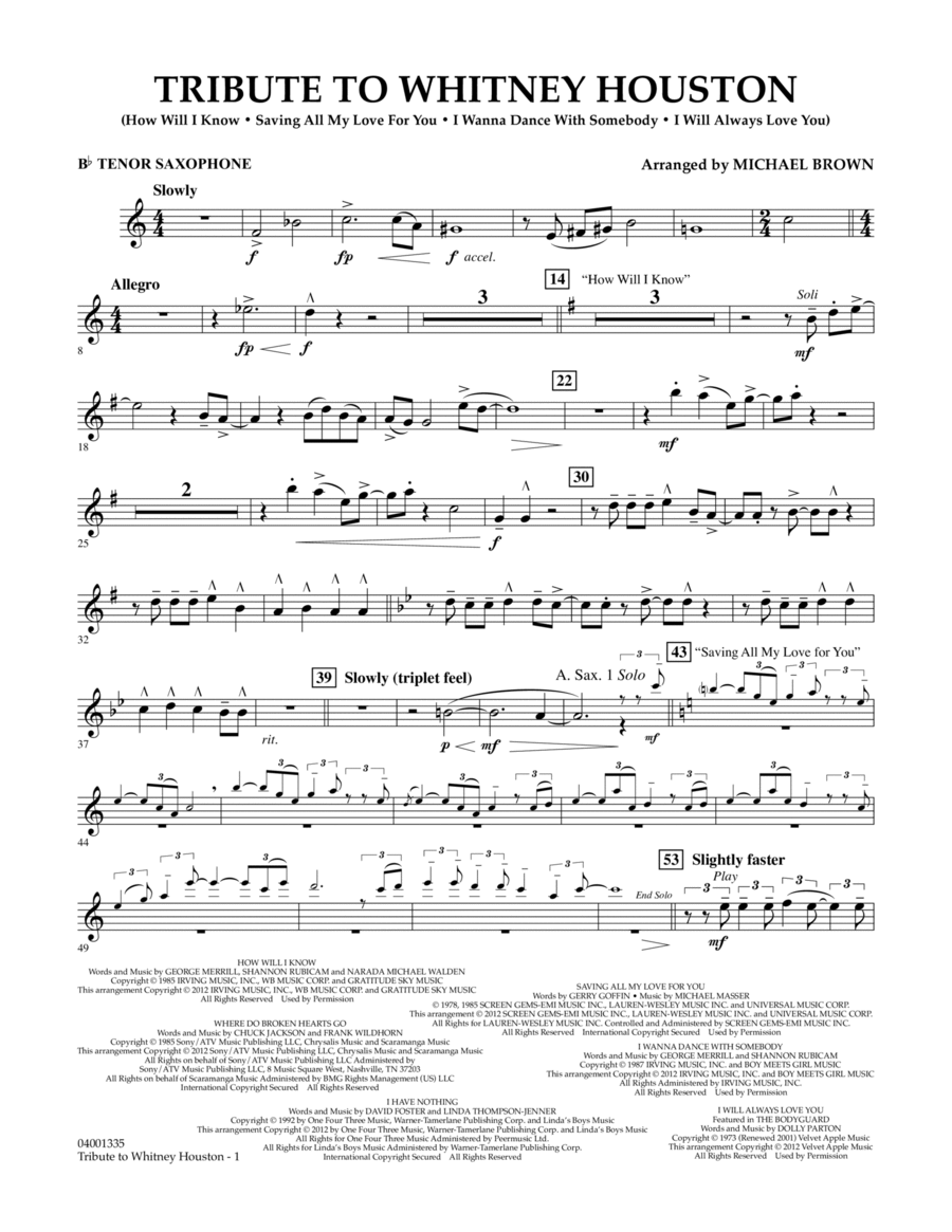 Tribute To Whitney Houston - Bb Tenor Saxophone