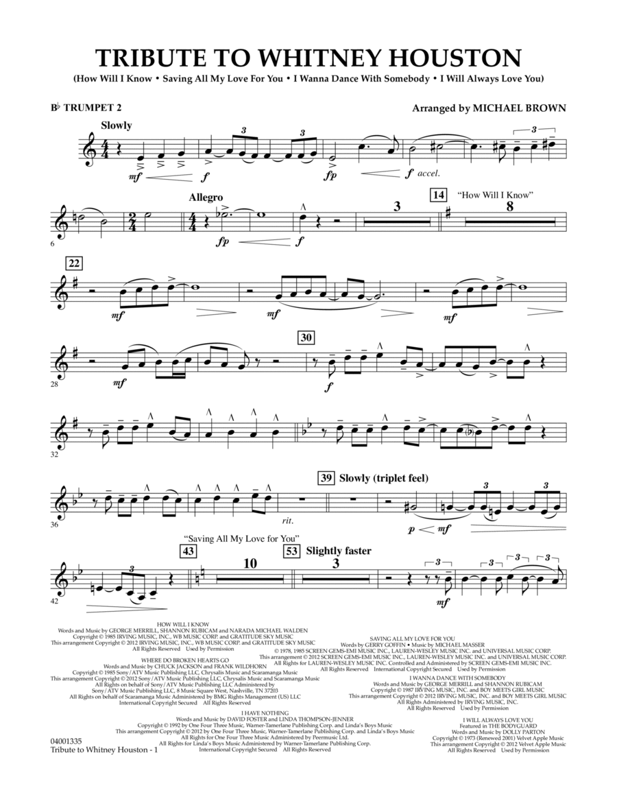 Tribute To Whitney Houston - Bb Trumpet 2