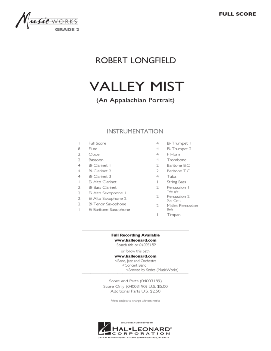 Valley Mist (An Appalachian Portrait) - Full Score