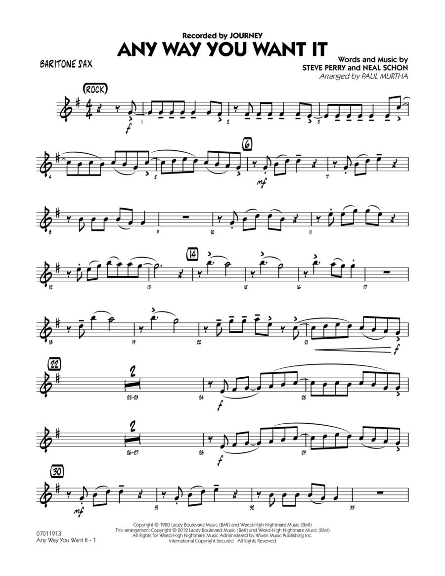 Any Way You Want It - Baritone Sax