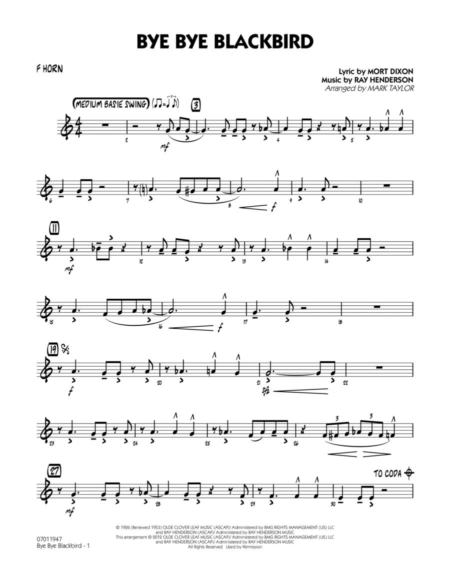 Bye Bye Blackbird - F Horn