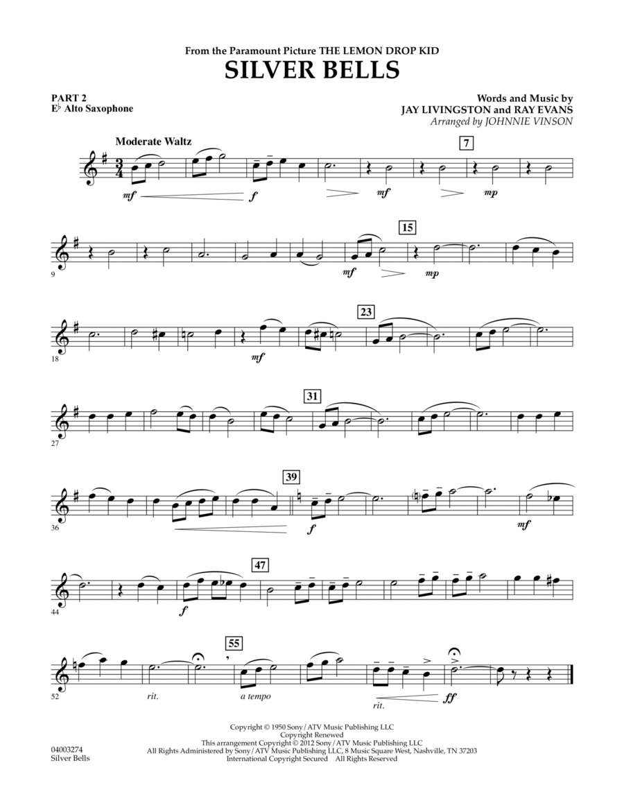 Silver Bells - Pt.2 - Eb Alto Saxophone