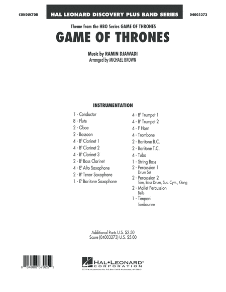 Game Of Thrones - Conductor Score (Full Score)