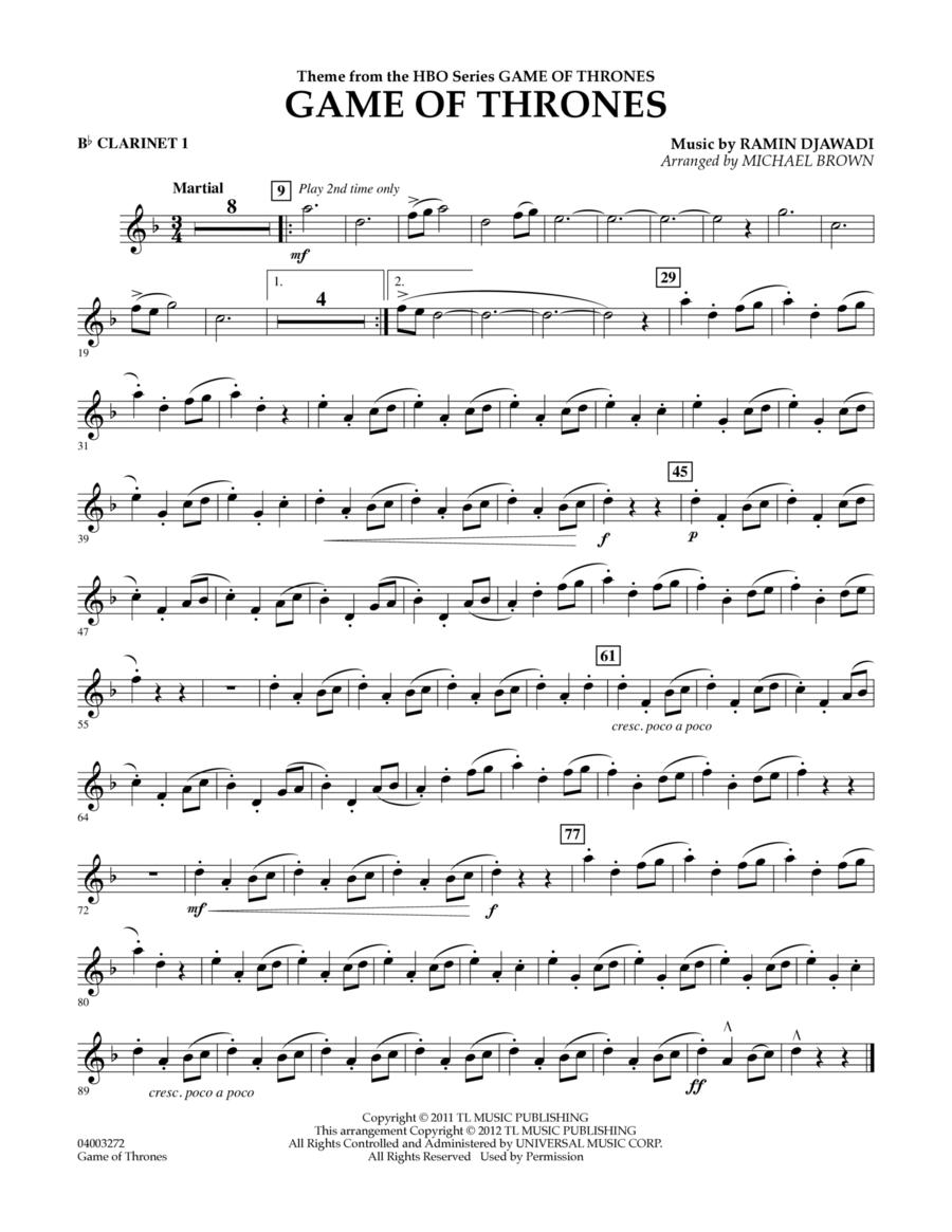 Game Of Thrones - Bb Clarinet 1