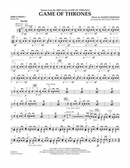 Game Of Thrones - Percussion 1
