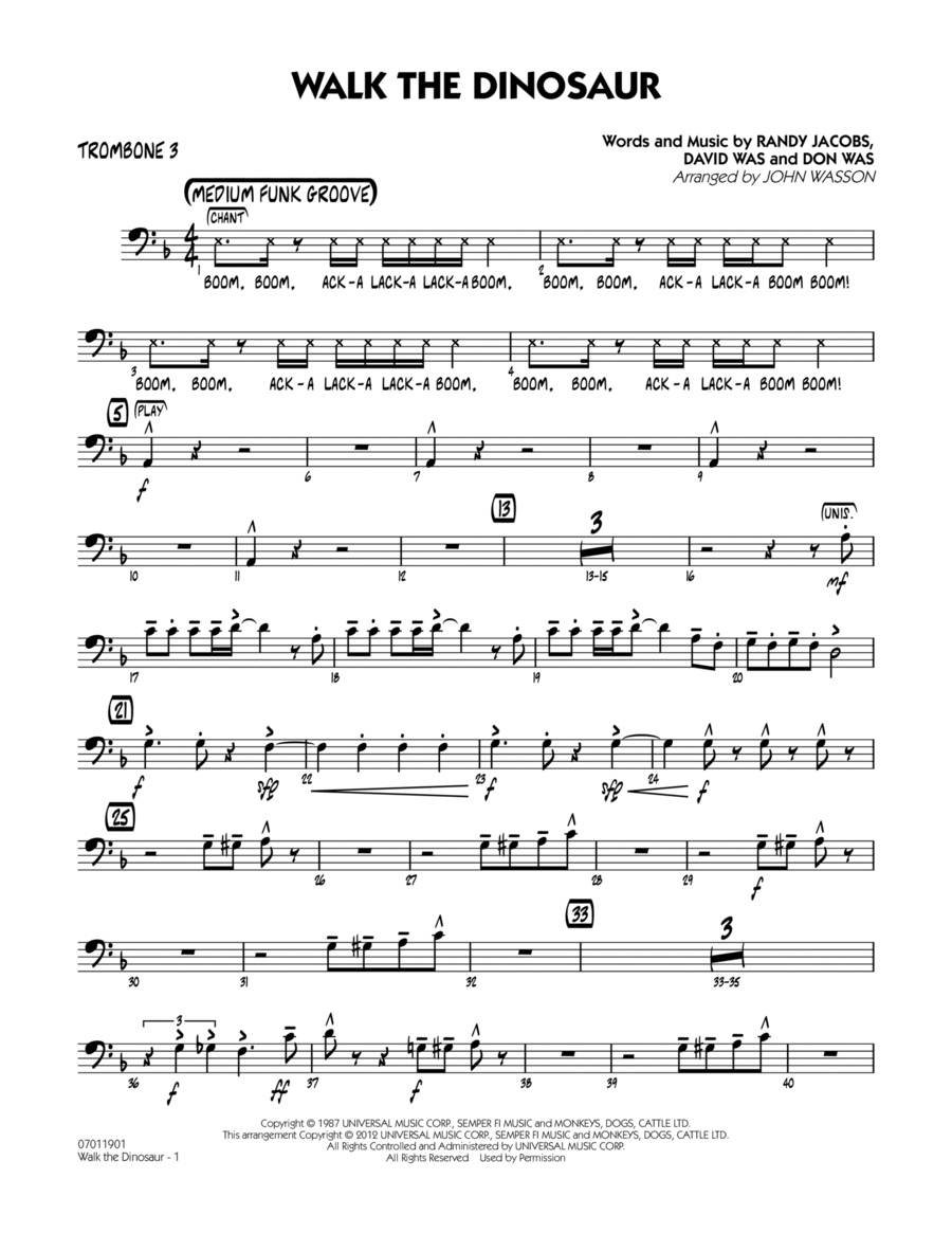 Walk The Dinosaur - Trombone 3