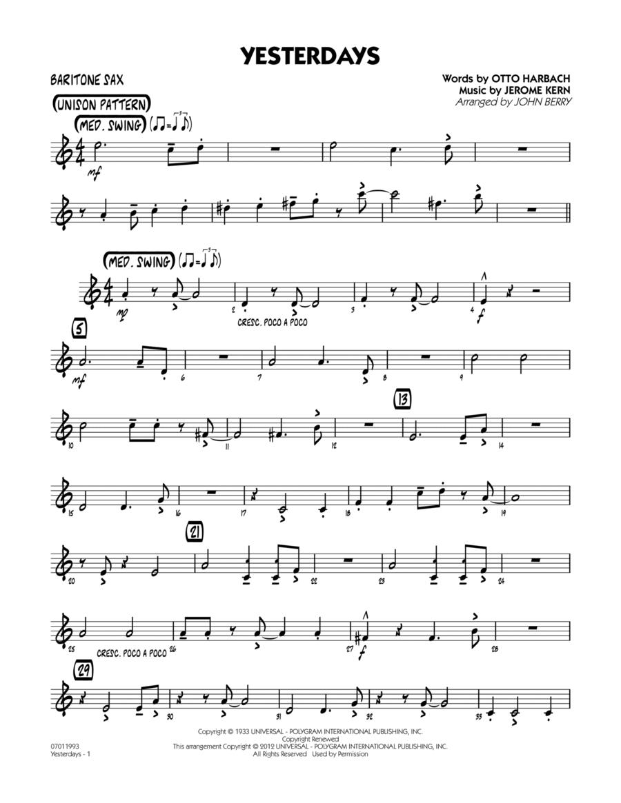 Yesterdays - Baritone Sax