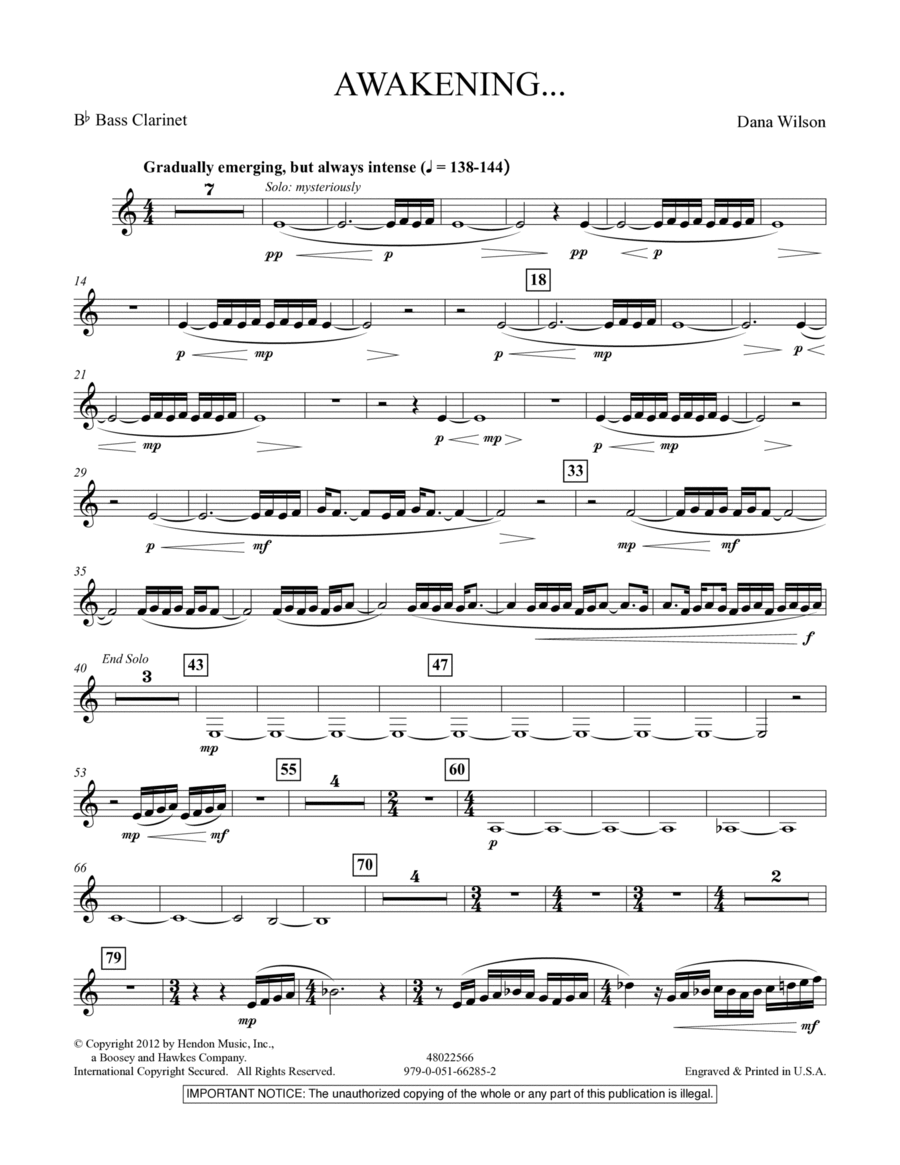 Awakening... - Bb Bass Clarinet