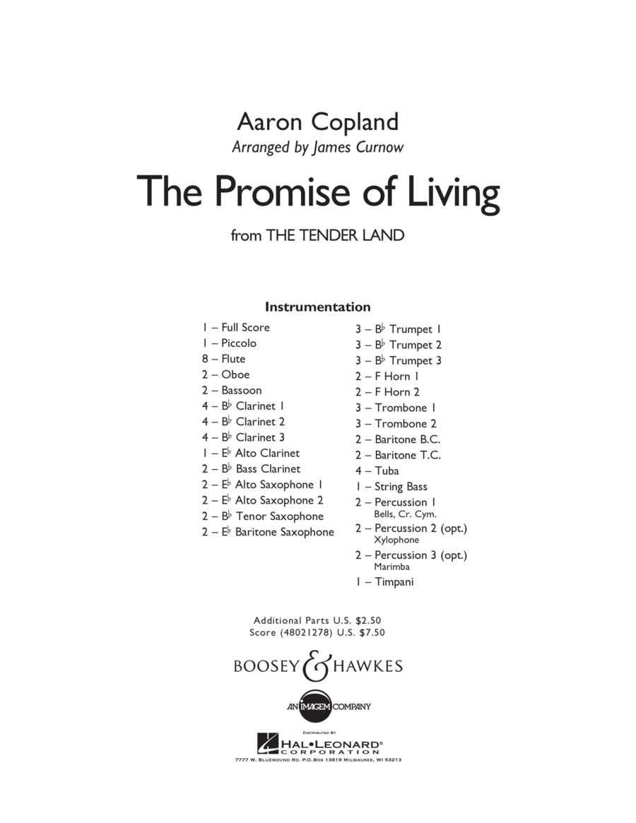 The Promise Of Living (from The Tender Land) - Conductor Score (Full Score)