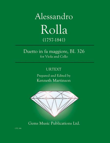 Duetto in fa maggiore, BI. 326 for Viola and Cello
