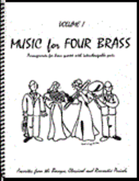 Music for Four Brass, Volume 1 - Set of 5 Parts for Brass Quartet (2 Trumpets, French Horn, Bass Trombone or Tuba) plus Keyboard