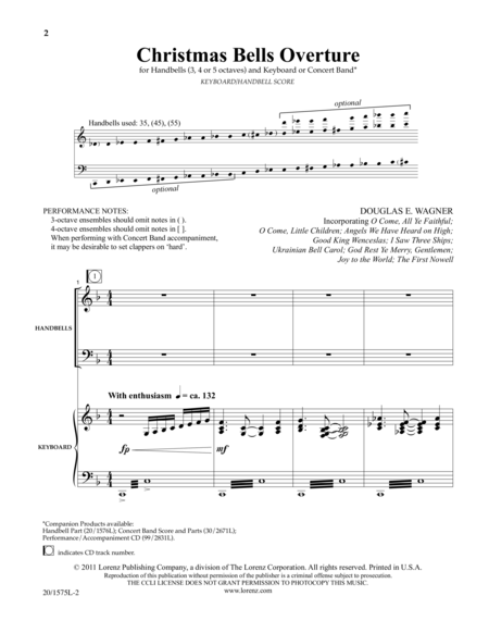 Christmas Bells Overture - Kybd/HB Score