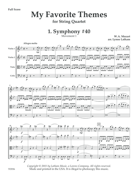 My Favorite Themes for String Quartet - Score