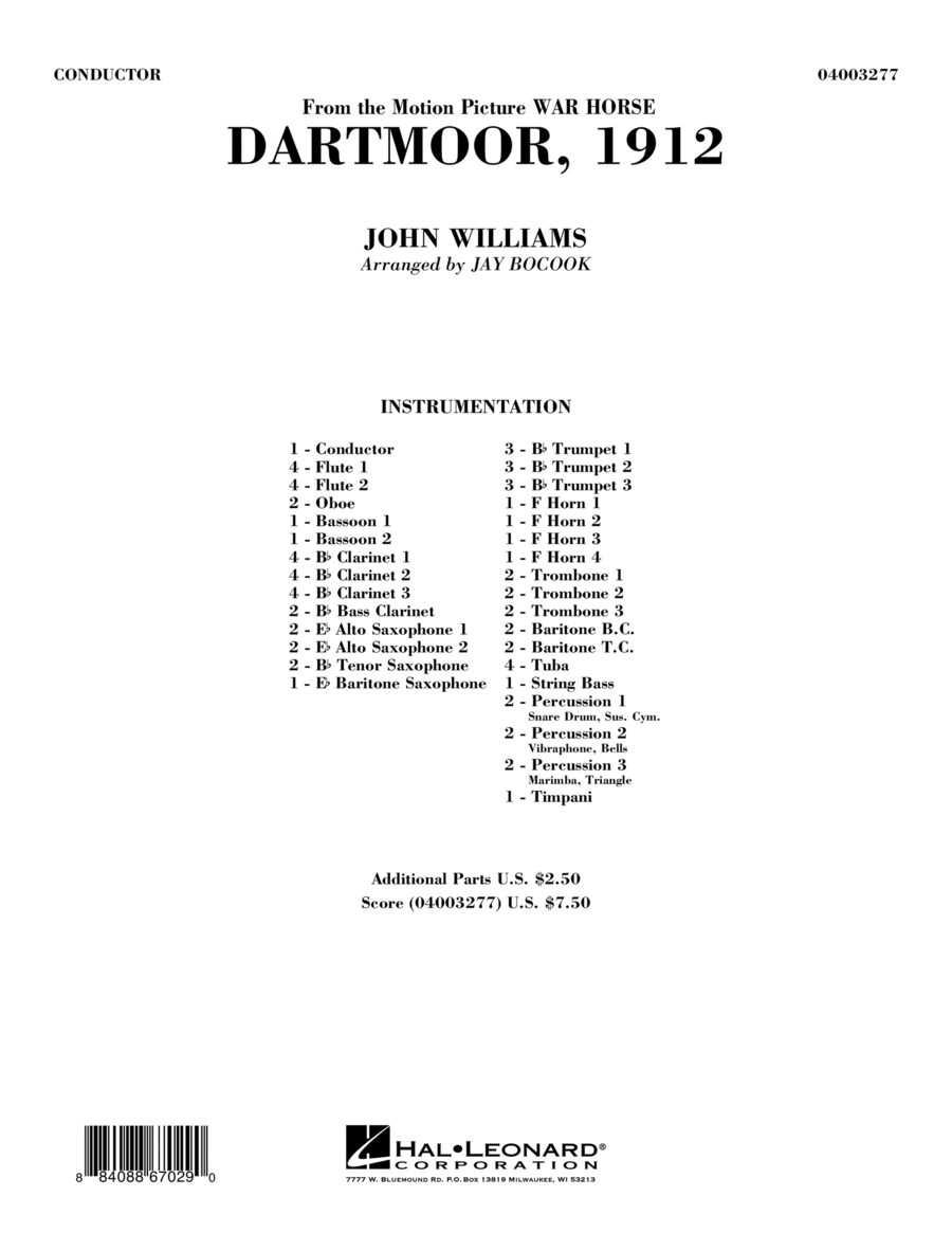 Dartmoor, 1912 (from War Horse) - Full Score