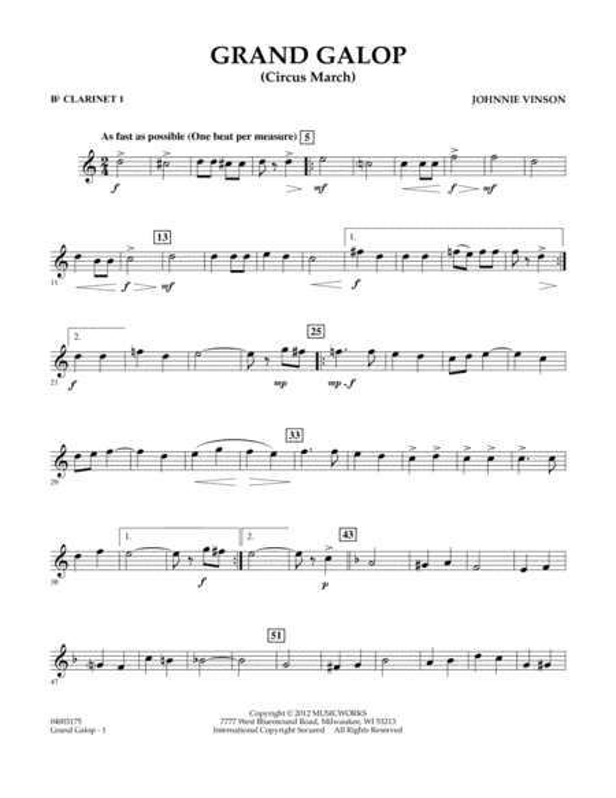 Grand Galop (Circus March) - Bb Clarinet 1