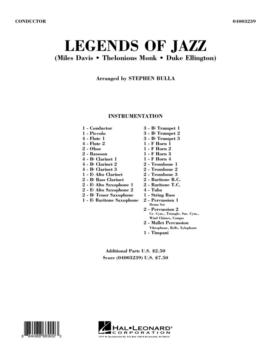Legends Of Jazz - Conductor Score (Full Score)