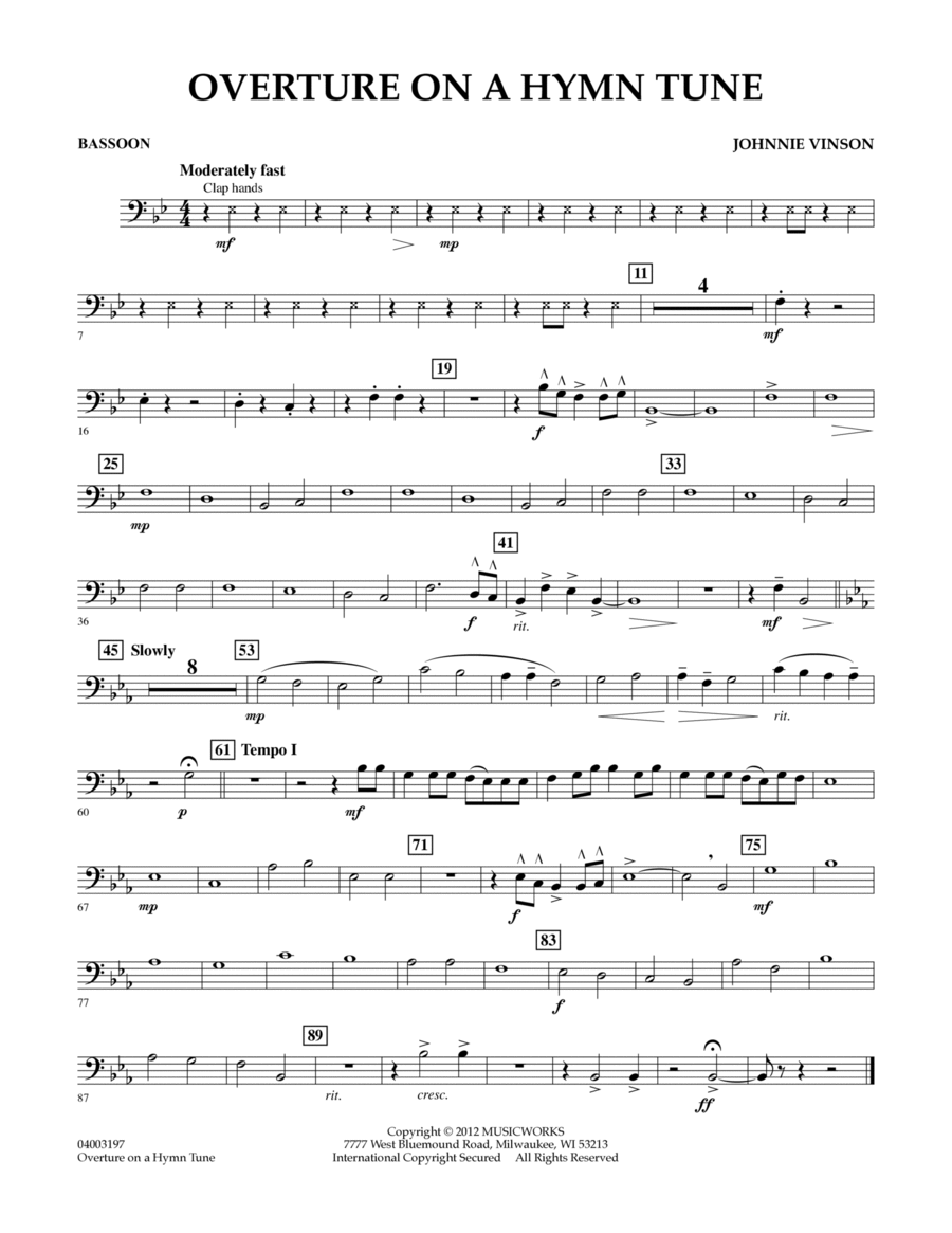 Overture on a Hymn Tune - Bassoon