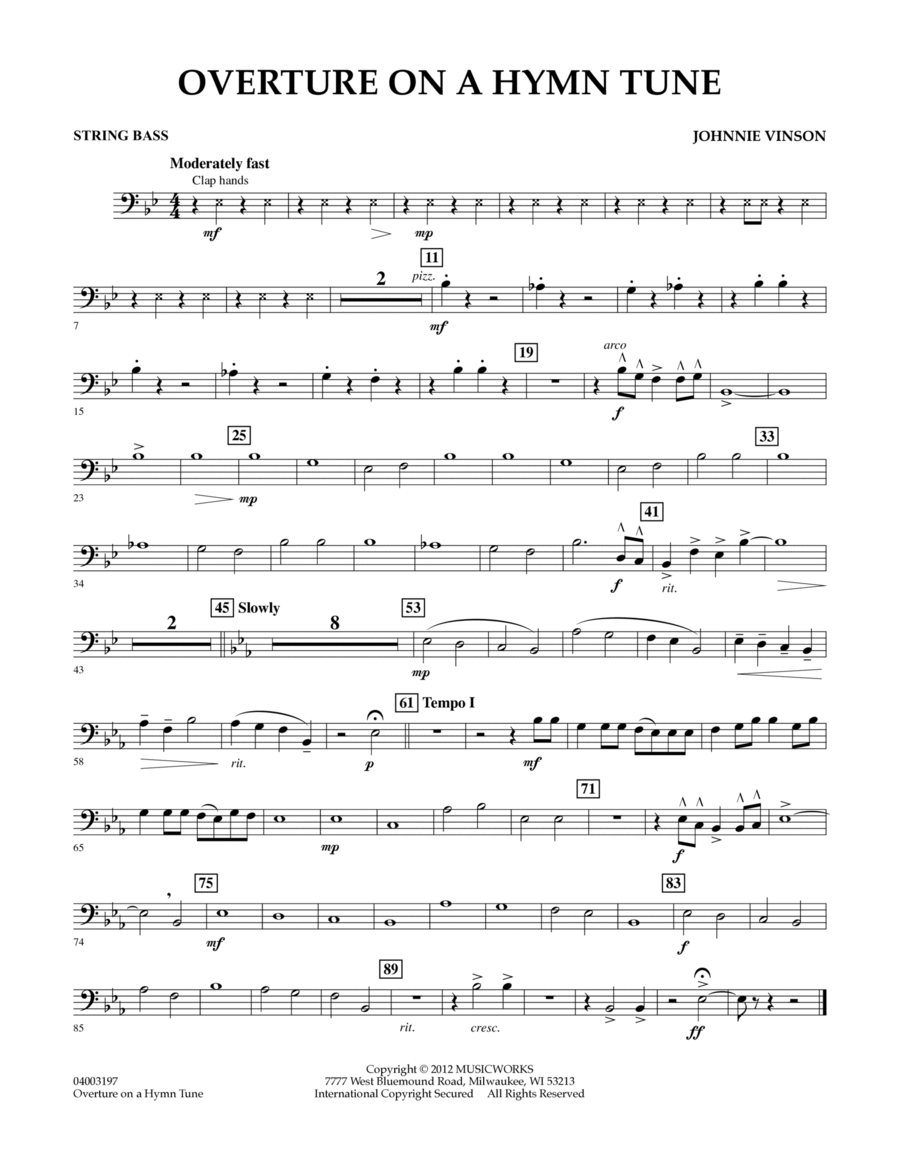 Overture on a Hymn Tune - Bass