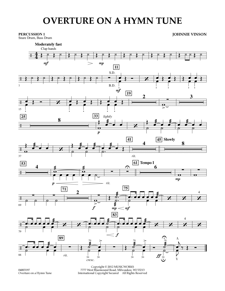 Overture on a Hymn Tune - Percussion 1