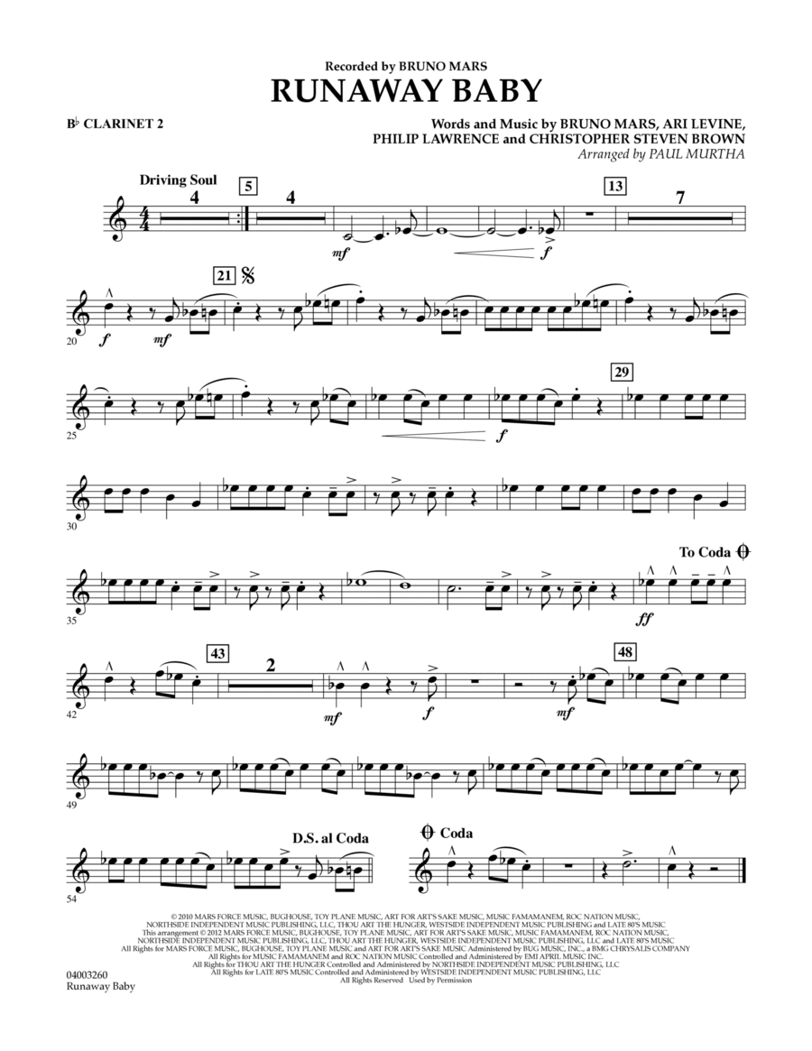Runaway Baby - Bb Clarinet 2