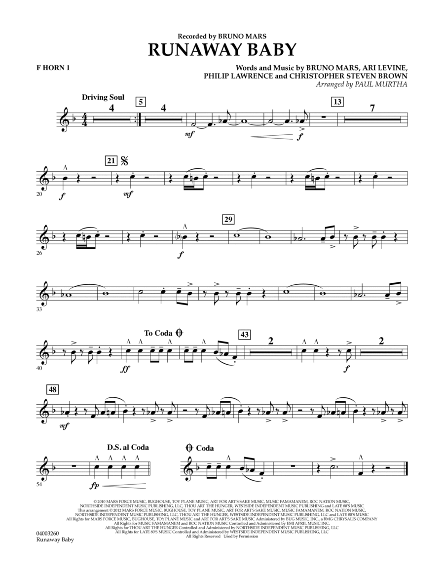 Runaway Baby - F Horn 1