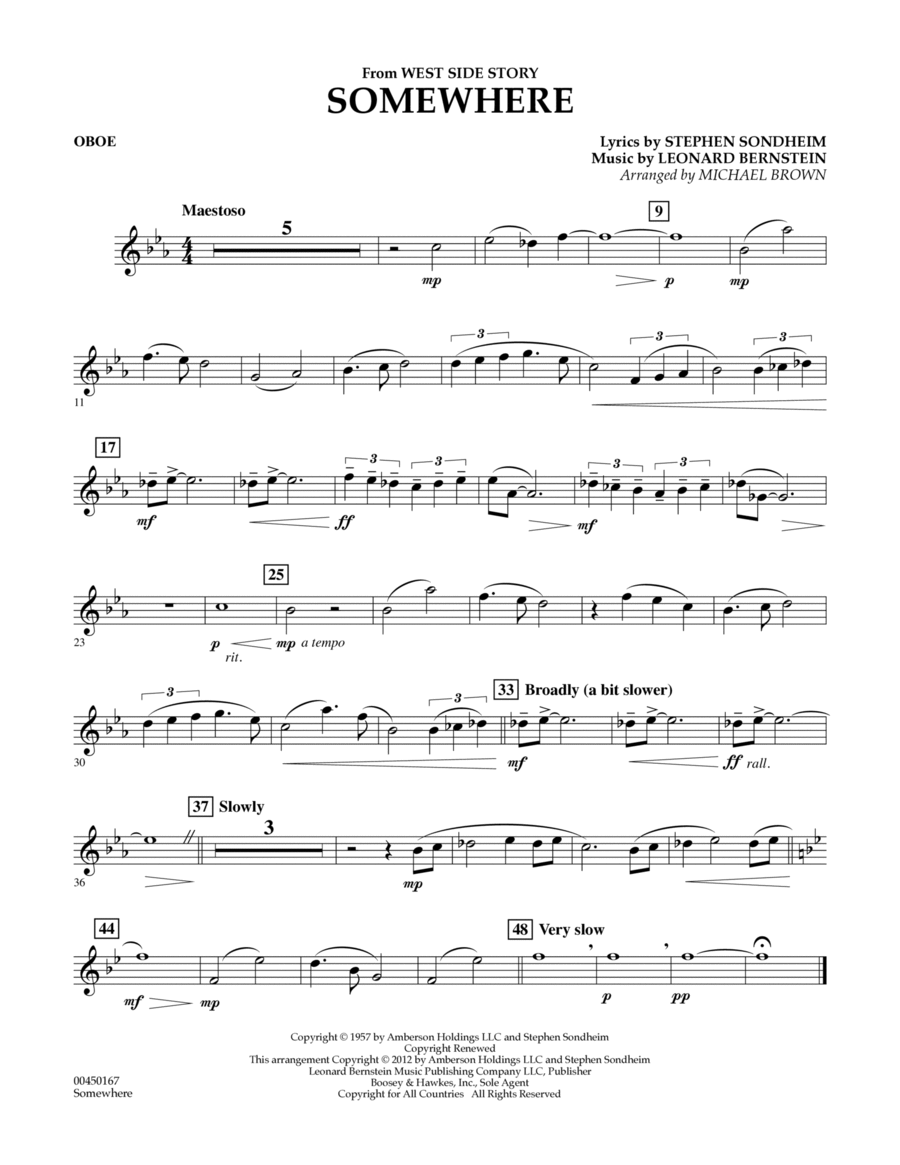 Somewhere (from West Side Story) - Oboe