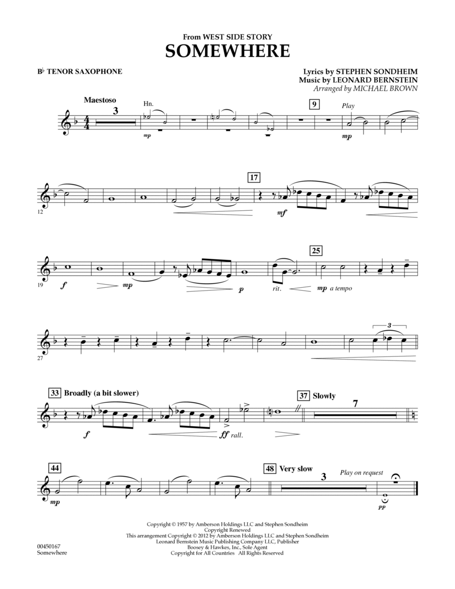 Somewhere (from West Side Story) - Bb Tenor Saxophone