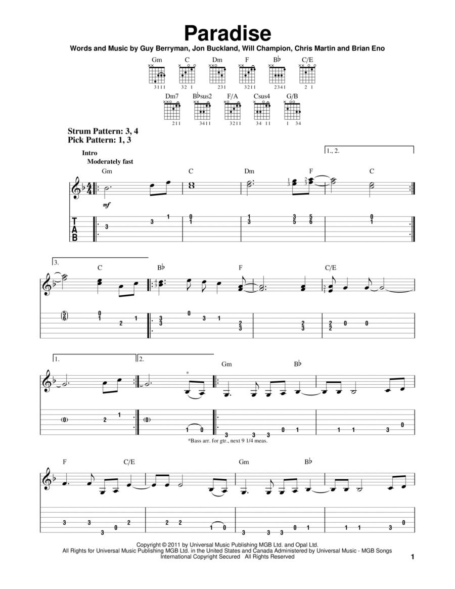 paradise coldplay music sheet pdf