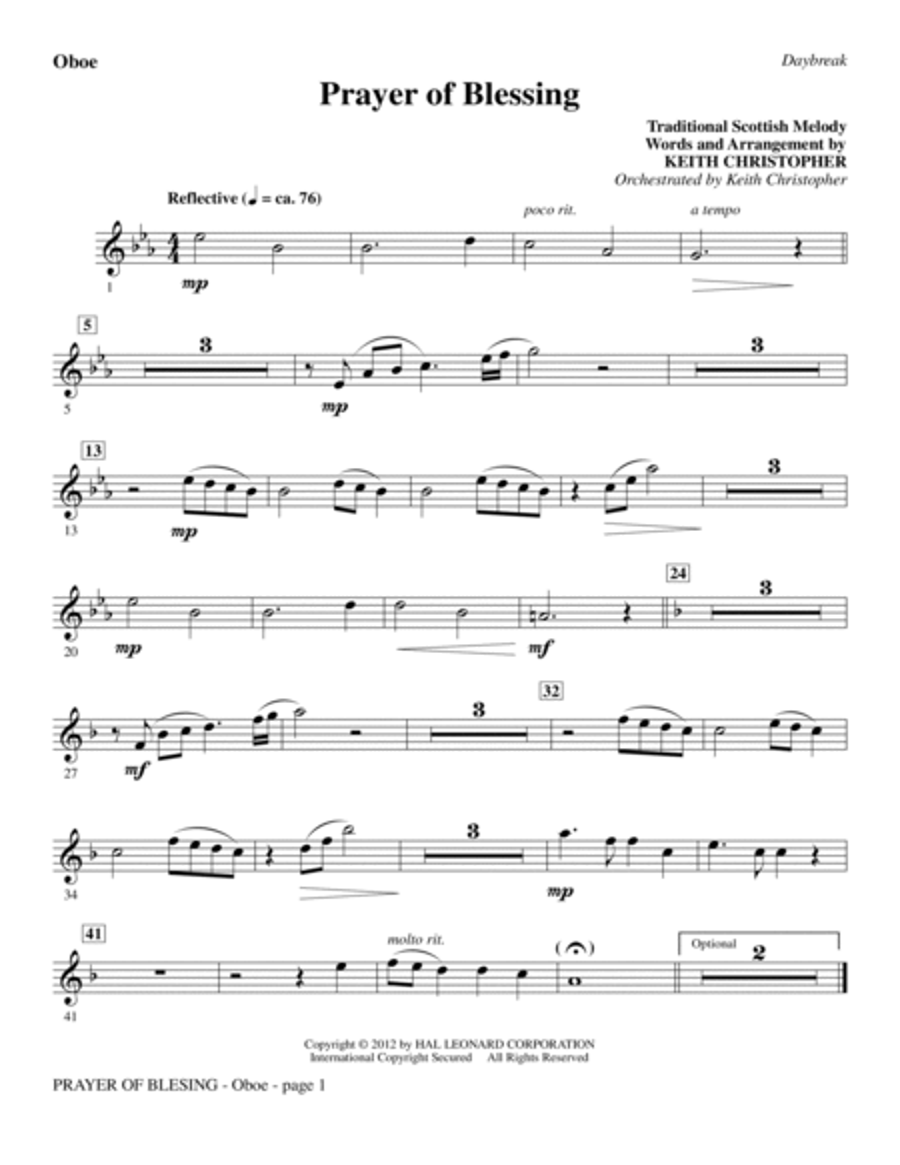 Prayer Of Blessing - Oboe