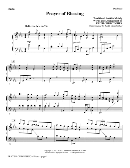 Prayer Of Blessing - Piano