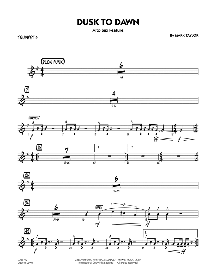 Dusk To Dawn (Solo Alto Sax Feature) - Trumpet 4