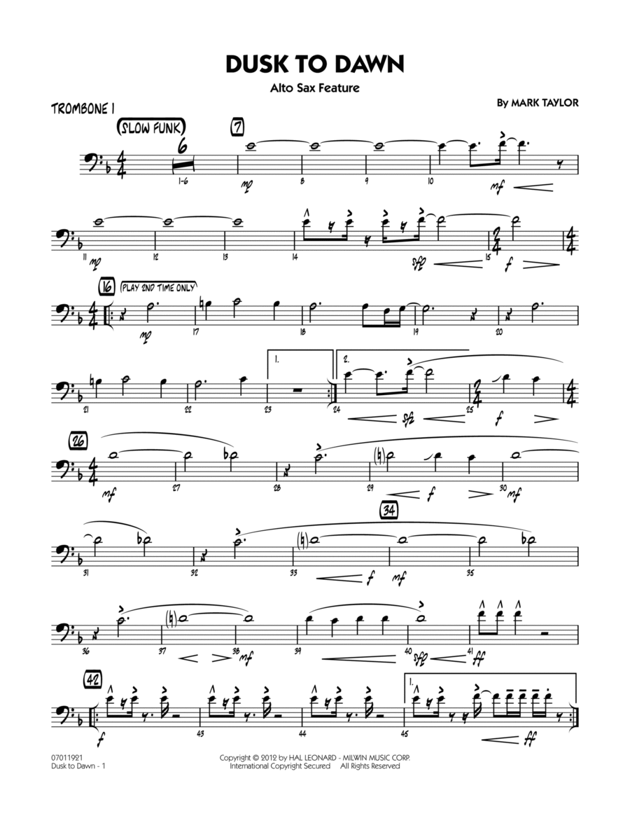 Dusk To Dawn (Solo Alto Sax Feature) - Trombone 1