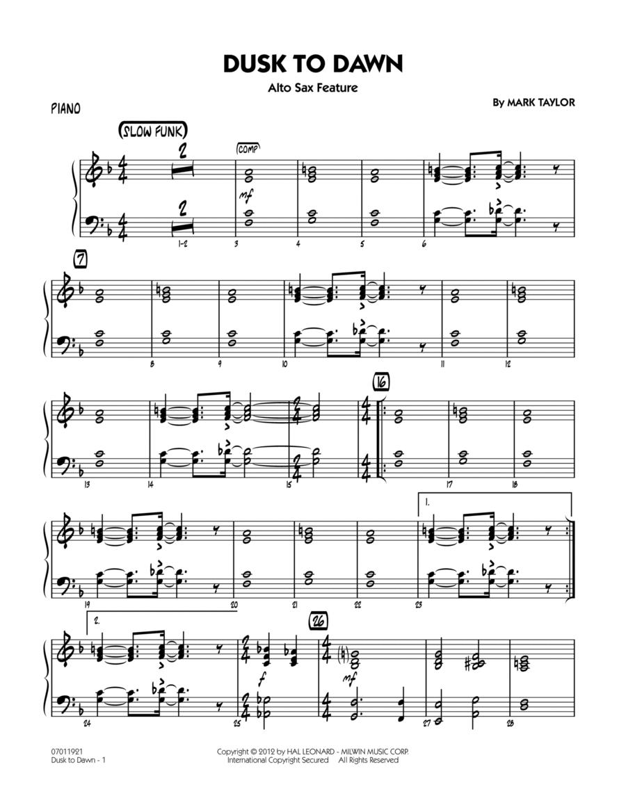 Dusk To Dawn (Solo Alto Sax Feature) - Piano