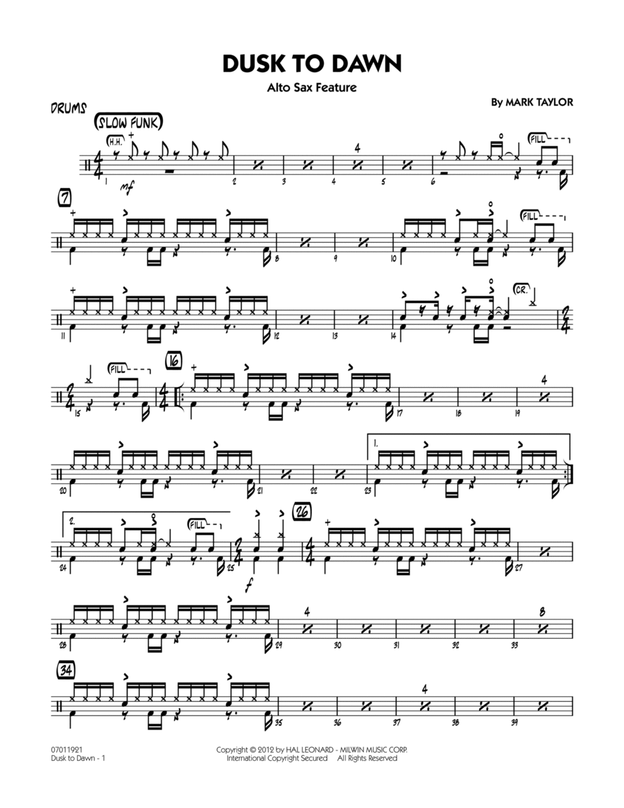 Dusk To Dawn (Solo Alto Sax Feature) - Drums