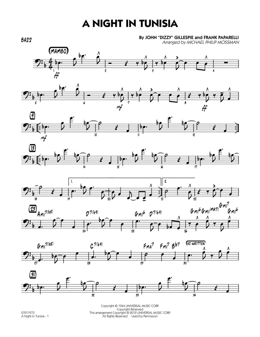 a night in tunisia bass line pdf