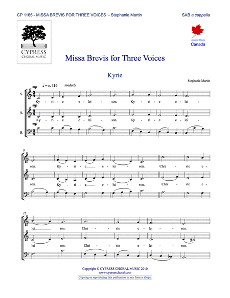 Missa Brevis for Three Voices (SAB)