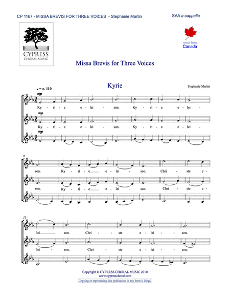 Missa Brevis for Three Voices (SSA)