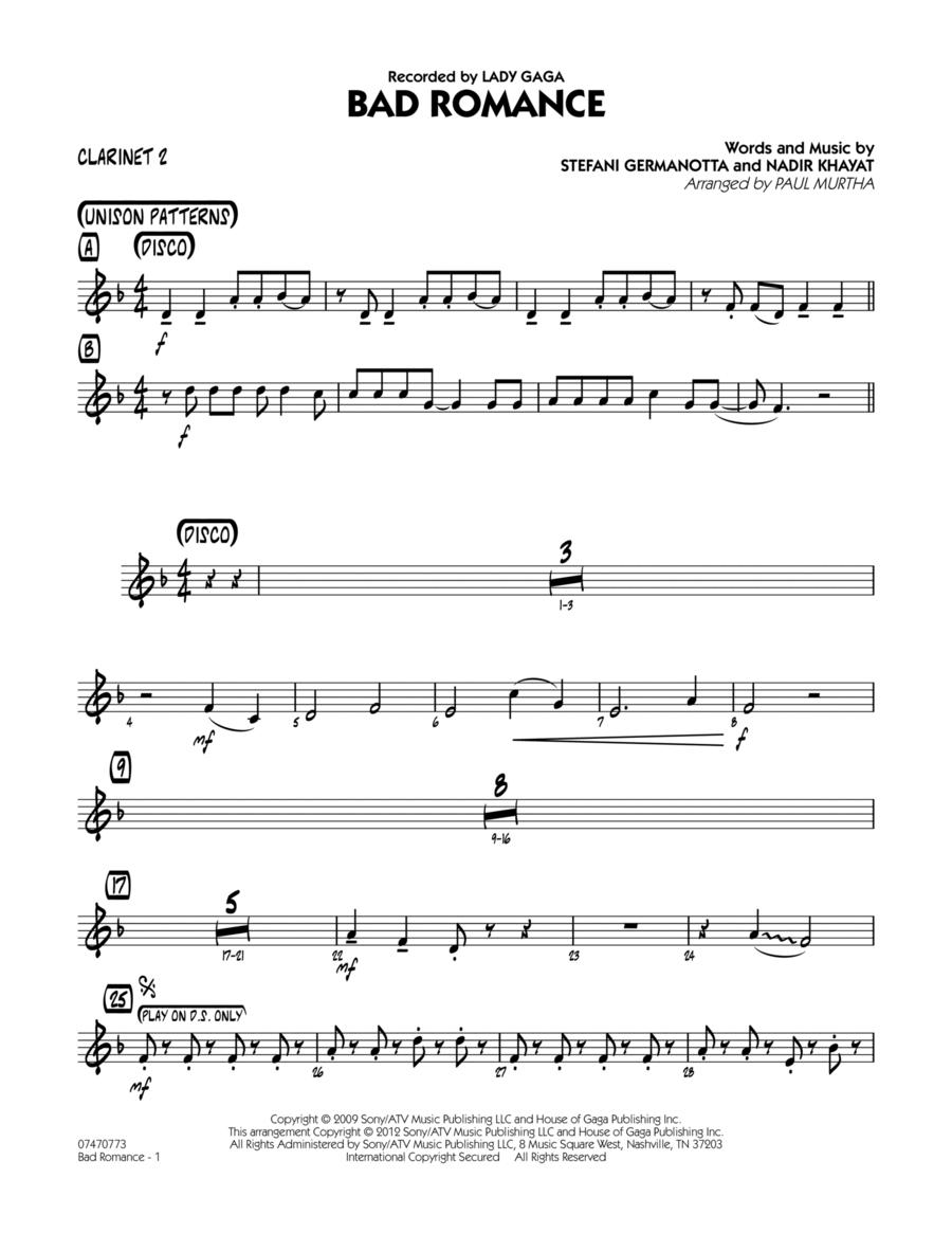 Bad Romance - Bb Clarinet 2