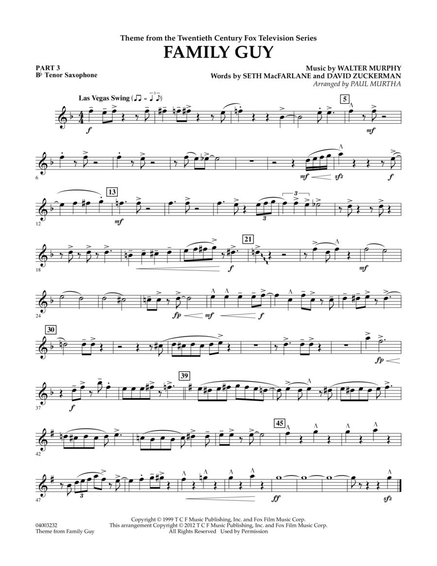 Family Guy (Theme) - Pt.3 - Bb Tenor Saxophone