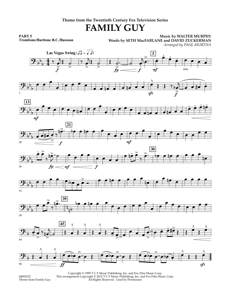 Family Guy (Theme) - Pt.5 - Trombone/Bar. B.C./Bsn.