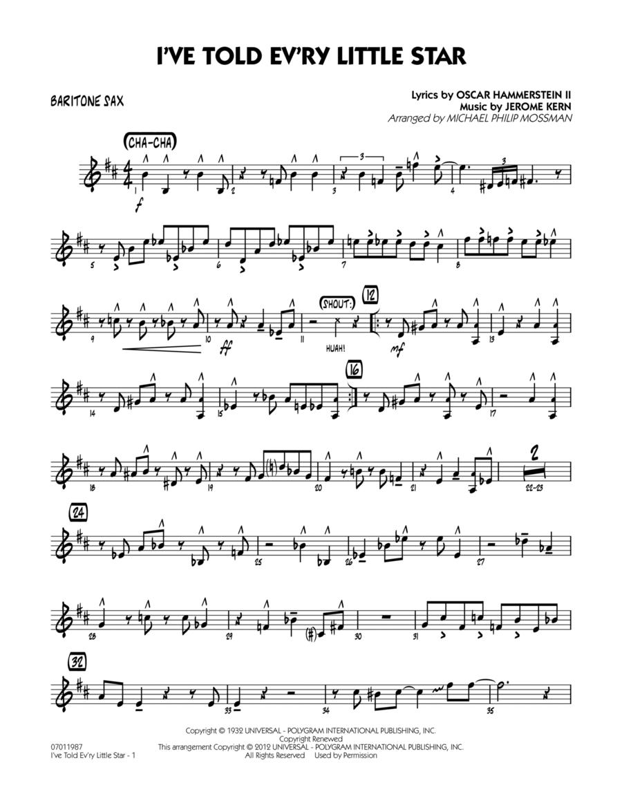I've Told Ev'ry Little Star - Baritone Sax