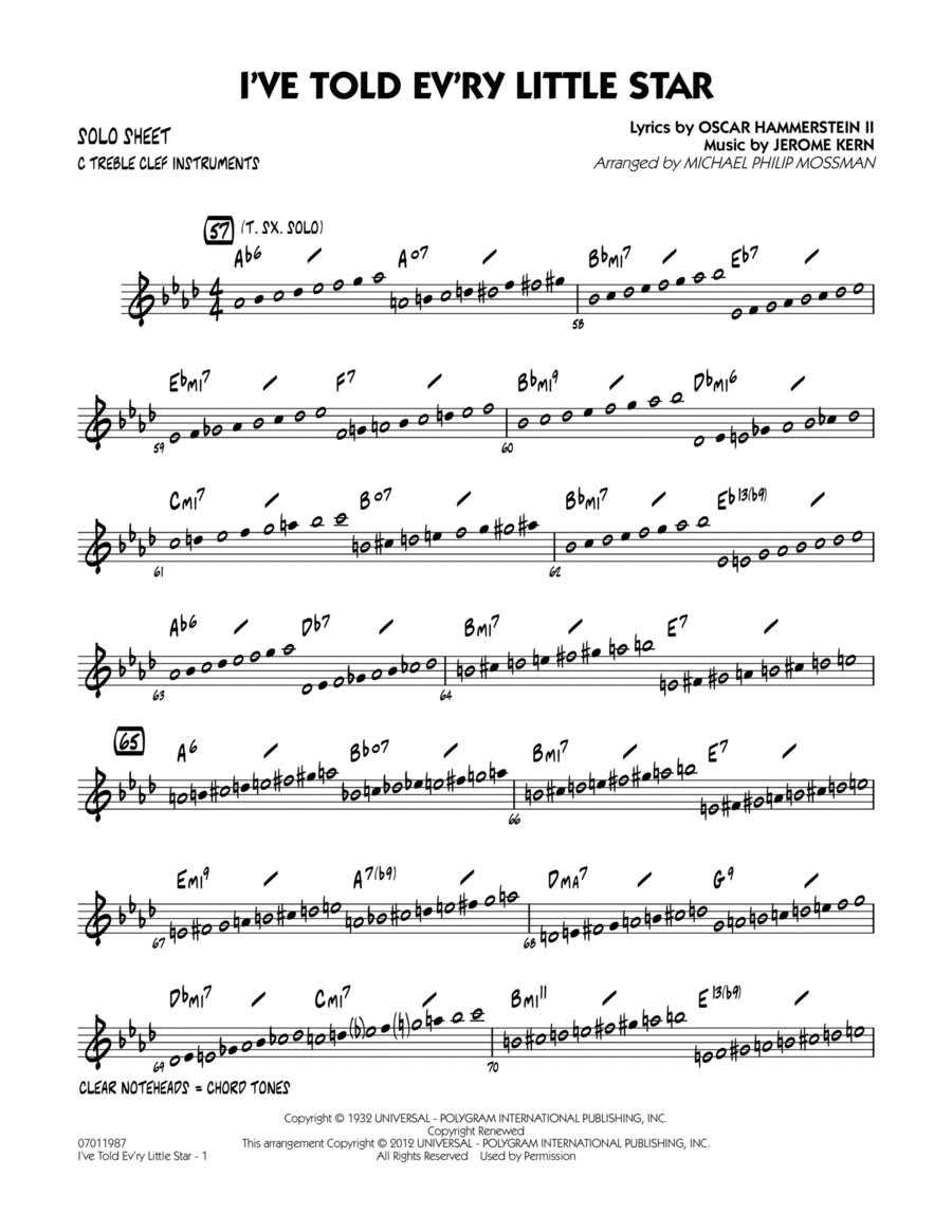 I've Told Ev'ry Little Star - C Solo Sheet